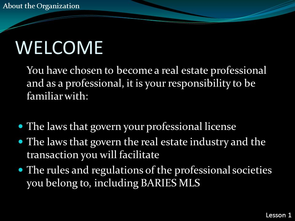 WELCOME You have chosen to become a real estate professional and as a professional, it is your responsibility to be familiar with: The laws that govern your professional license The laws that govern the real estate industry and the transaction you will facilitate The rules and regulations of the professional societies you belong to, including BARIES MLS Lesson 1 About the Organization