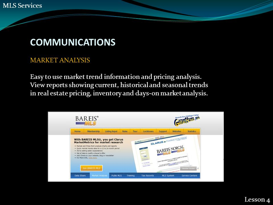 COMMUNICATIONS Lesson 4 MARKET ANALYSIS Easy to use market trend information and pricing analysis.