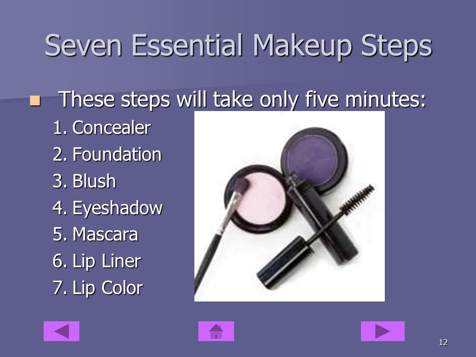 11 Makeup Essentials Blend your best color as you apply it Blend your best color as you apply it Men watch out for the five o'clock shadow Men watch out for the five o'clock shadow –Keep an extra shaver at the office if this a problem.