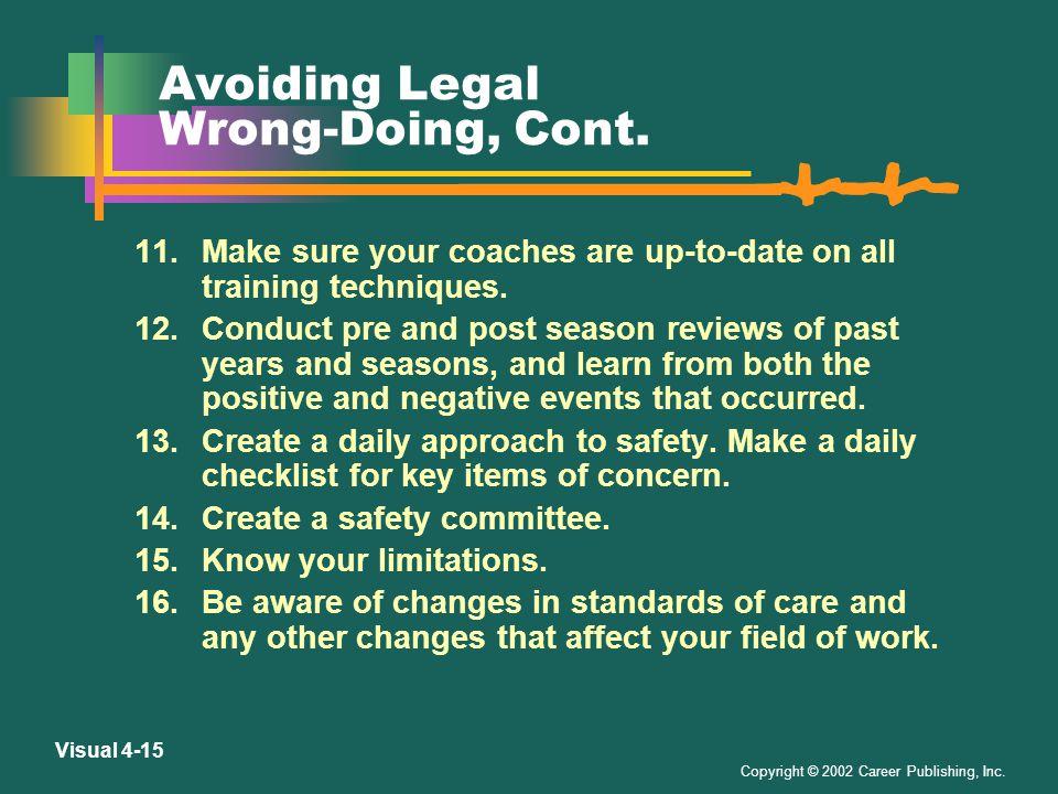 Copyright © 2002 Career Publishing, Inc. Visual 4-14 Avoiding Legal Wrong-Doing, Cont.