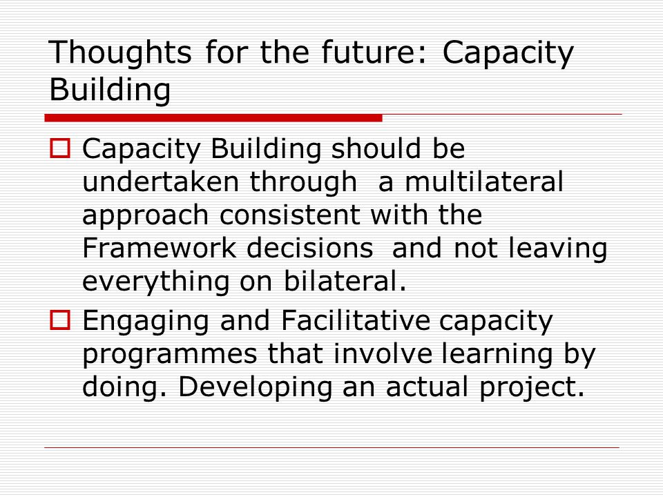 Thoughts for the future: Capacity Building  Capacity Building should be undertaken through a multilateral approach consistent with the Framework decisions and not leaving everything on bilateral.