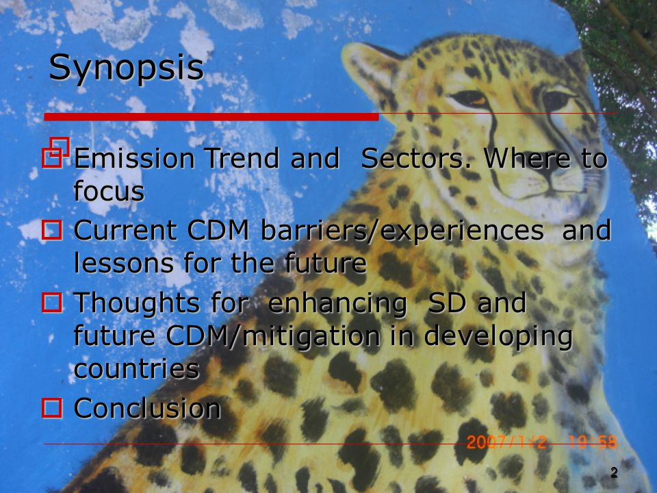 Synopsis  2  Emission Trend and Sectors.