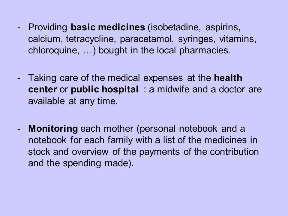 -Providing basic medicines (isobetadine, aspirins, calcium, tetracycline, paracetamol, syringes, vitamins, chloroquine, …) bought in the local pharmacies.