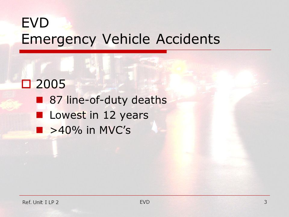 EVD3 EVD Emergency Vehicle Accidents  2005 87 line-of-duty deaths Lowest in 12 years >40% in MVC's Ref.
