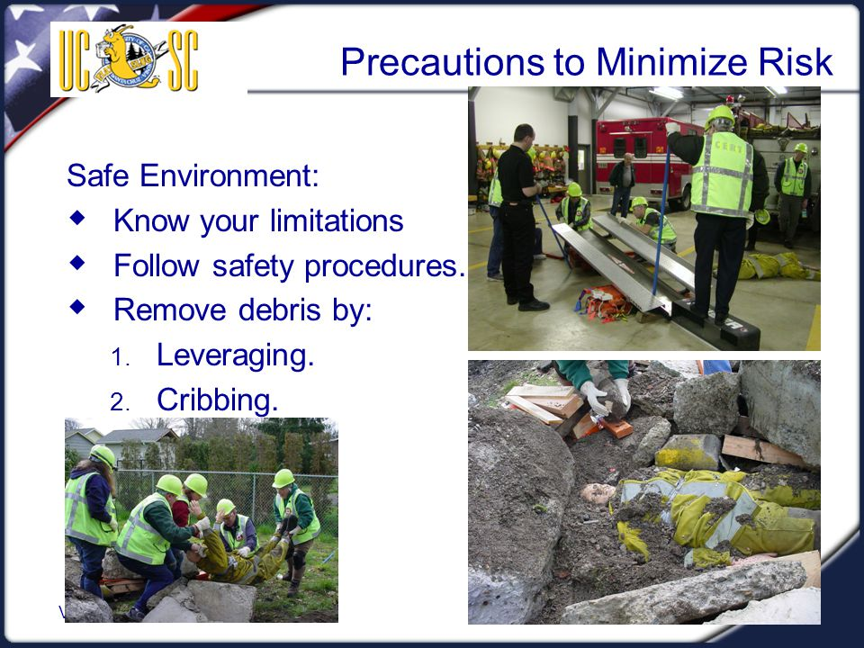 Visual 5.24 Precautions to Minimize Risk Safe Environment:  Know your limitations  Follow safety procedures.  Remove debris by: 1. Leveraging. 2. C