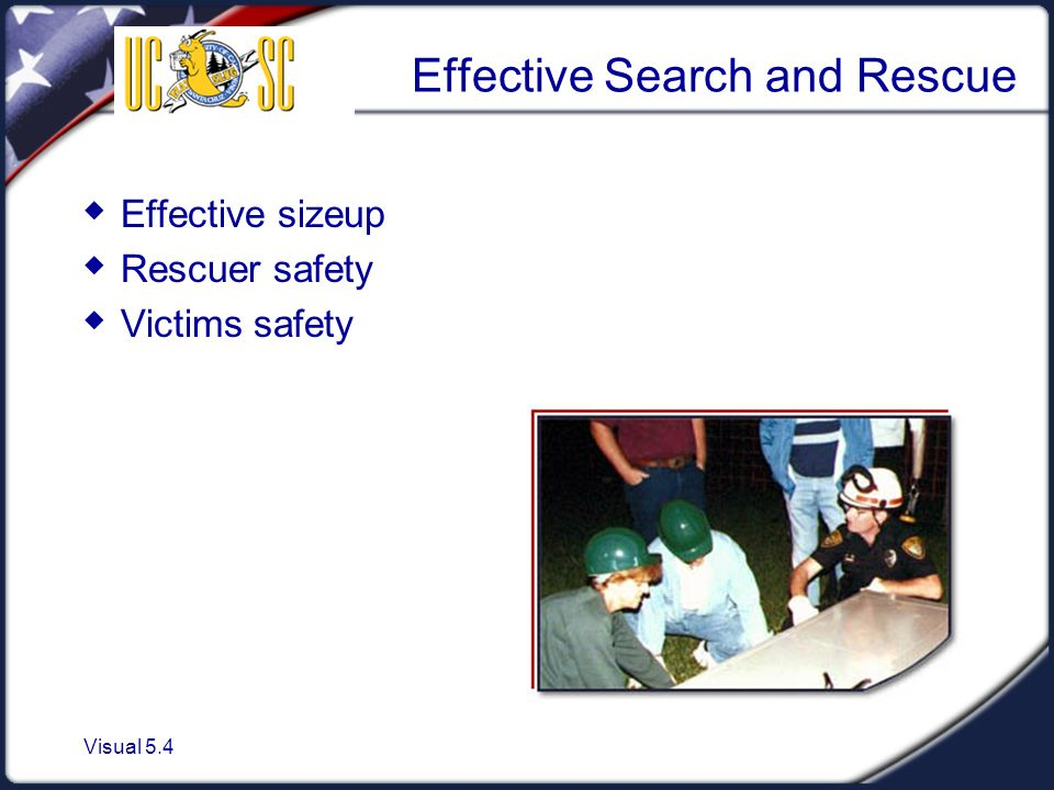 Visual 5.4 Effective Search and Rescue  Effective sizeup  Rescuer safety  Victims safety