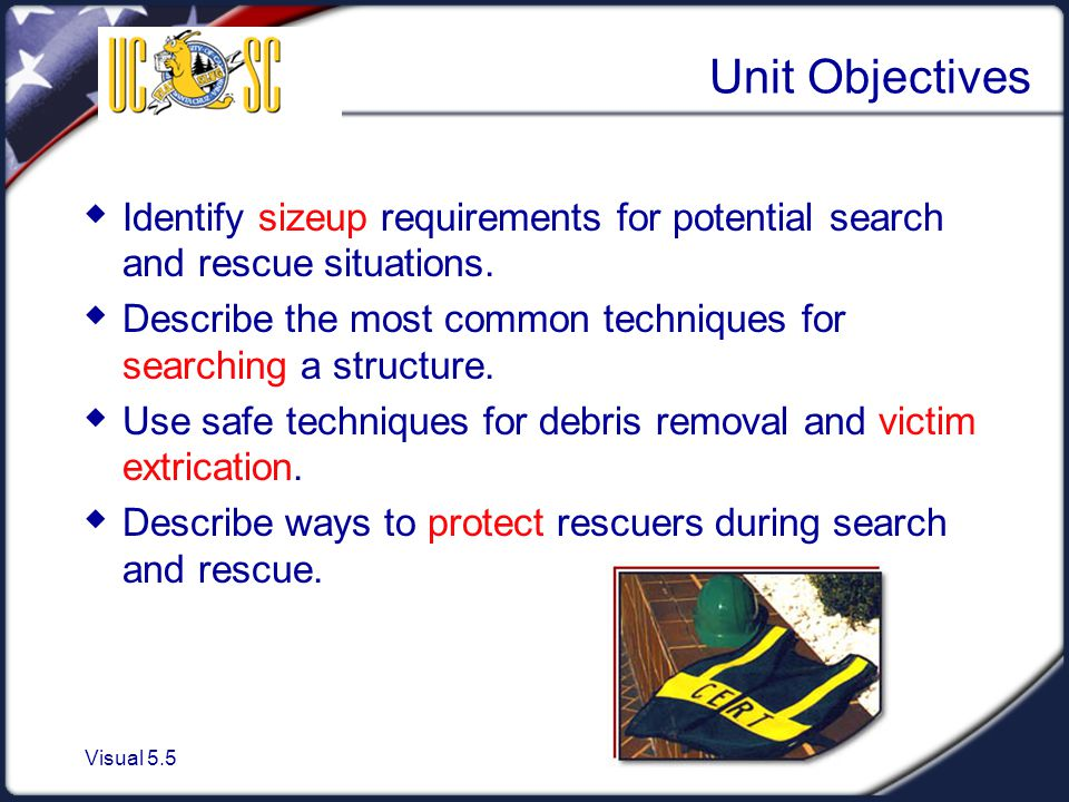 Visual 5.5 Unit Objectives  Identify sizeup requirements for potential search and rescue situations.  Describe the most common techniques for search