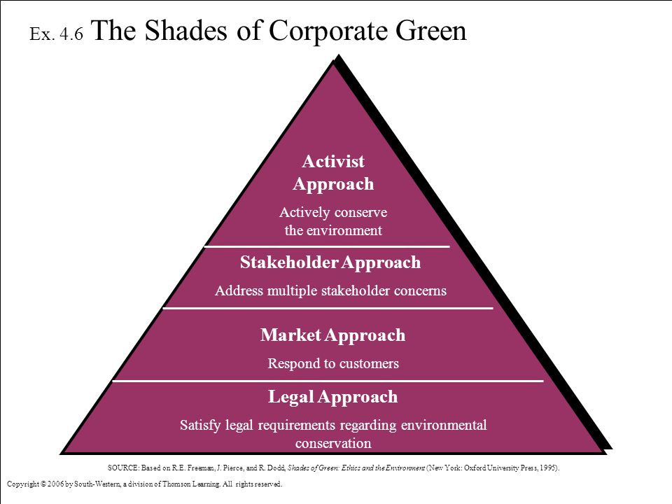 © 2006 by South-Western, a division of Thomson Learning. All rights reserved. 3-18 Shades of Corporate Green Ex. 4.6 The Shades of Corporate Green Act
