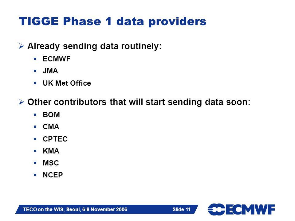 Slide 11 TECO on the WIS, Seoul, 6-8 November 2006 Slide 11 TIGGE Phase 1 data providers  Already sending data routinely:  ECMWF  JMA  UK Met Office  Other contributors that will start sending data soon:  BOM  CMA  CPTEC  KMA  MSC  NCEP