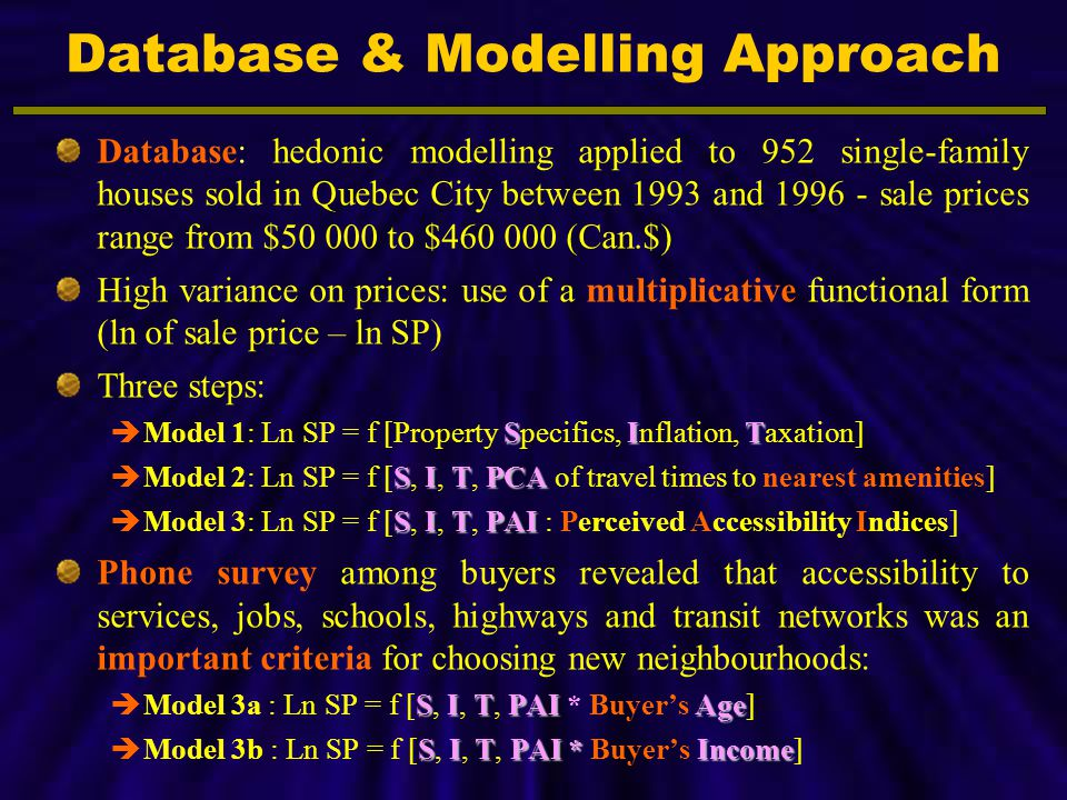 Database: hedonic modelling applied to 952 single-family houses sold in Quebec City between 1993 and 1996 - sale prices range from $50 000 to $460 000