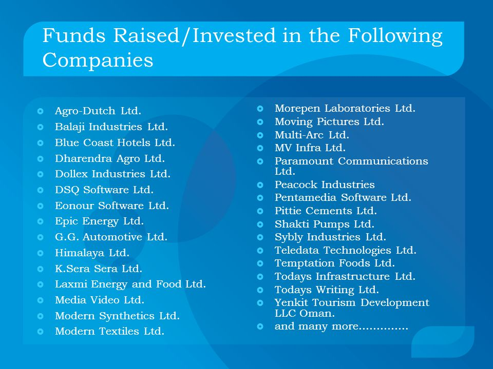 Funds Raised/Invested in the Following Companies  Agro-Dutch Ltd.
