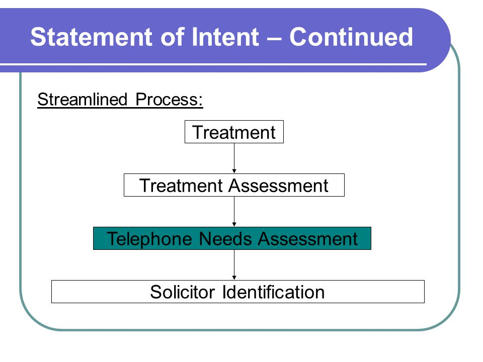 Statement of Intent – Continued Treatment Assessment Telephone Needs Assessment Treatment Solicitor Identification Streamlined Process: