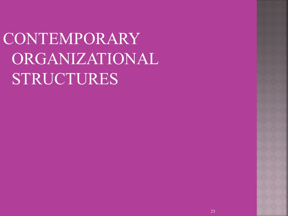 CONTEMPORARY ORGANIZATIONAL STRUCTURES 23