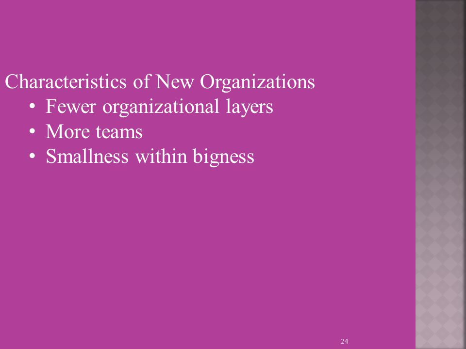 24 Characteristics of New Organizations Fewer organizational layers More teams Smallness within bigness