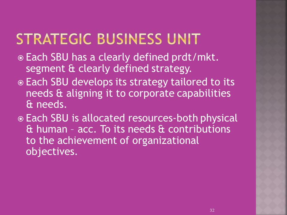 Each SBU has a clearly defined prdt/mkt. segment & clearly defined strategy.