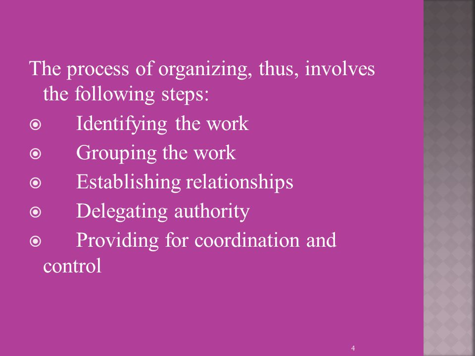 The process of organizing, thus, involves the following steps:  Identifying the work  Grouping the work  Establishing relationships  Delegating authority  Providing for coordination and control 4