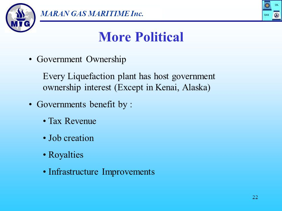"""MARAN GAS MARITIME Inc. 21 Characteristics of the """"NEW"""" LNG Market New Growth Phase – Common View Many More Projects - Expansions Cross - Project Comp"""