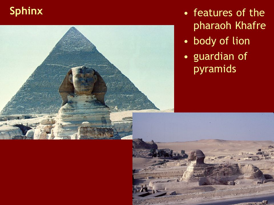 Sphinx features of the pharaoh Khafre body of lion guardian of pyramids