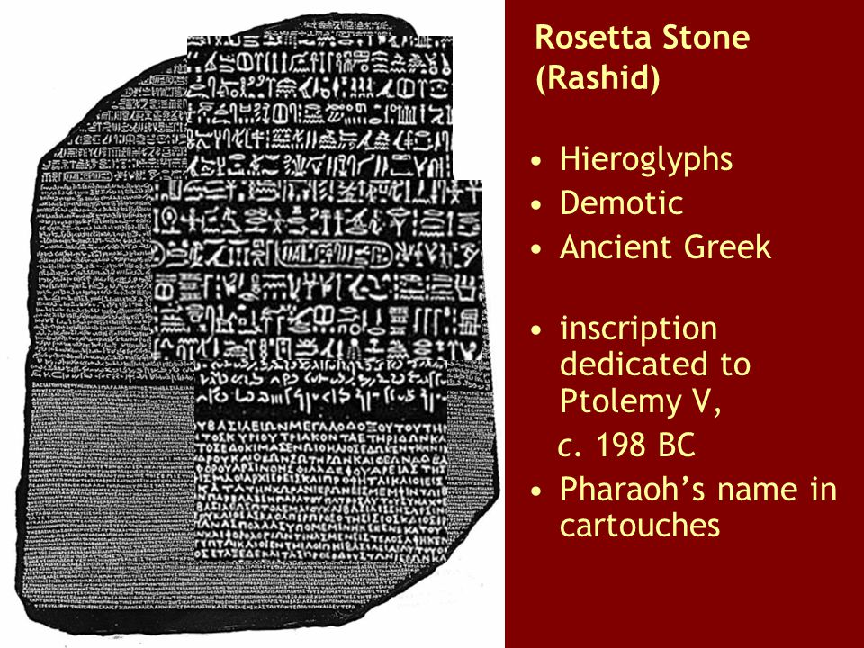 Rosetta Stone (Rashid) Hieroglyphs Demotic Ancient Greek inscription dedicated to Ptolemy V, c. 198 BC Pharaoh's name in cartouches