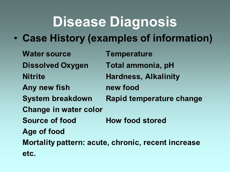 Disease Diagnosis Case History (examples of information) Water sourceTemperature Dissolved OxygenTotal ammonia, pH NitriteHardness, Alkalinity Any new fishnew food System breakdownRapid temperature change Change in water color Source of foodHow food stored Age of food Mortality pattern: acute, chronic, recent increase etc.