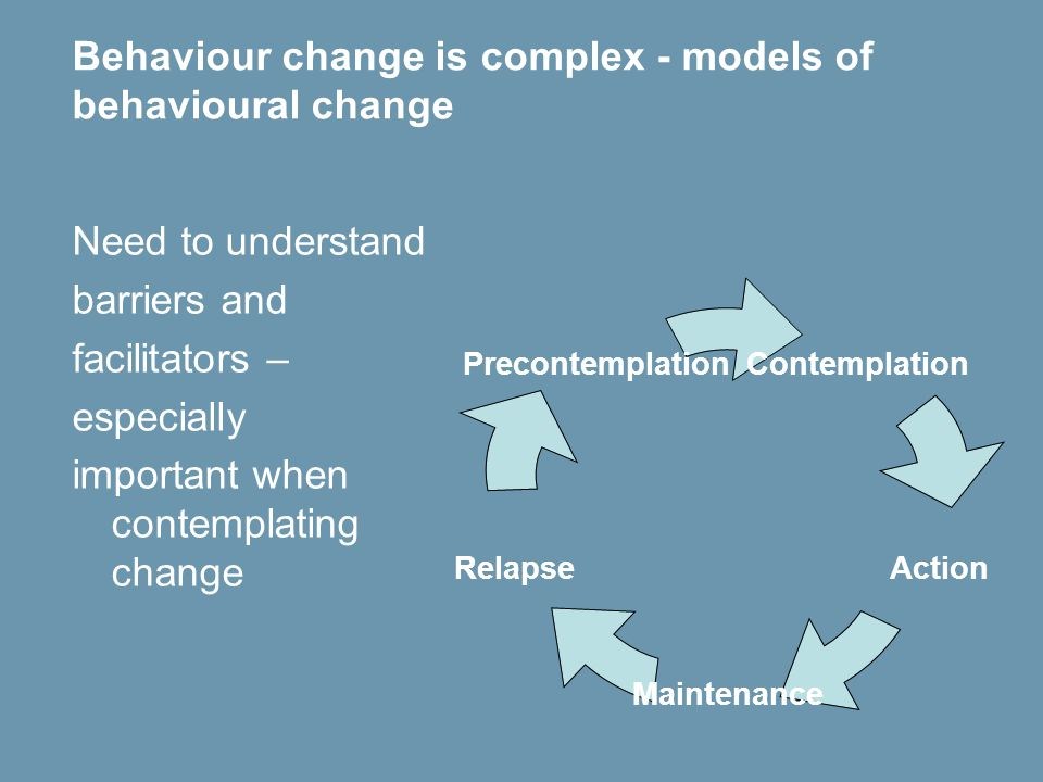 Behaviour change is complex - models of behavioural change Need to understand barriers and facilitators – especially important when contemplating change Contemplation Action Maintenance Relapse Precontemplation