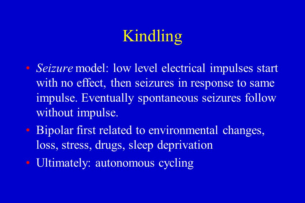 Kindling Seizure model: low level electrical impulses start with no effect, then seizures in response to same impulse. Eventually spontaneous seizures