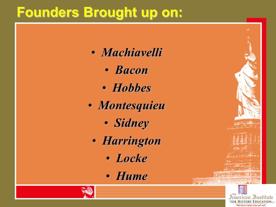 Founders Brought up on: MachiavelliMachiavelli BaconBacon HobbesHobbes MontesquieuMontesquieu SidneySidney HarringtonHarrington LockeLocke HumeHume