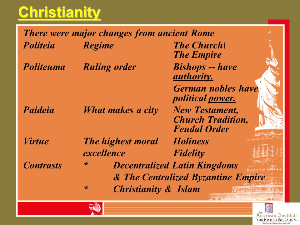 Christianity There were major changes from ancient Rome PoliteiaRegimeThe Church\ The Empire PoliteumaRuling orderBishops -- have authority. German no