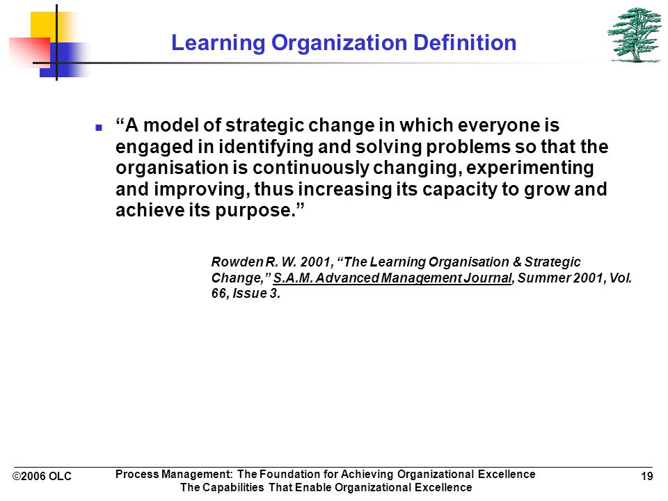©2006 OLC 19 Process Management: The Foundation for Achieving Organizational Excellence The Capabilities That Enable Organizational Excellence Learnin
