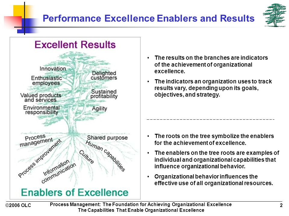 ©2006 OLC 2 Process Management: The Foundation for Achieving Organizational Excellence The Capabilities That Enable Organizational Excellence Performa