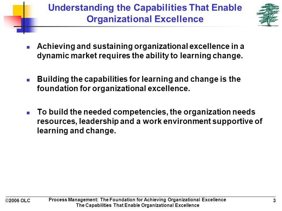 ©2006 OLC 3 Process Management: The Foundation for Achieving Organizational Excellence The Capabilities That Enable Organizational Excellence Understanding the Capabilities That Enable Organizational Excellence Achieving and sustaining organizational excellence in a dynamic market requires the ability to learning change.