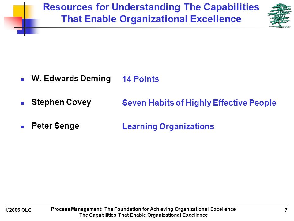 ©2006 OLC 7 Process Management: The Foundation for Achieving Organizational Excellence The Capabilities That Enable Organizational Excellence Resources for Understanding The Capabilities That Enable Organizational Excellence W.