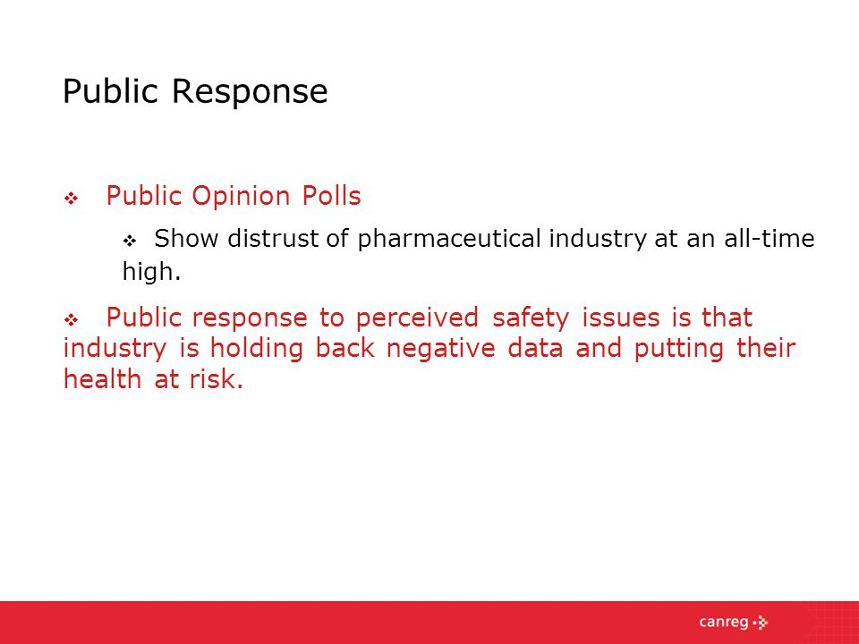 Public Response  Public Opinion Polls  Show distrust of pharmaceutical industry at an all-time high.