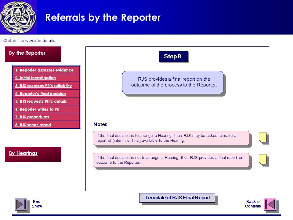 Referrals by the Reporter Click on the words for details: Back to Contents Notes By the Reporter 1.