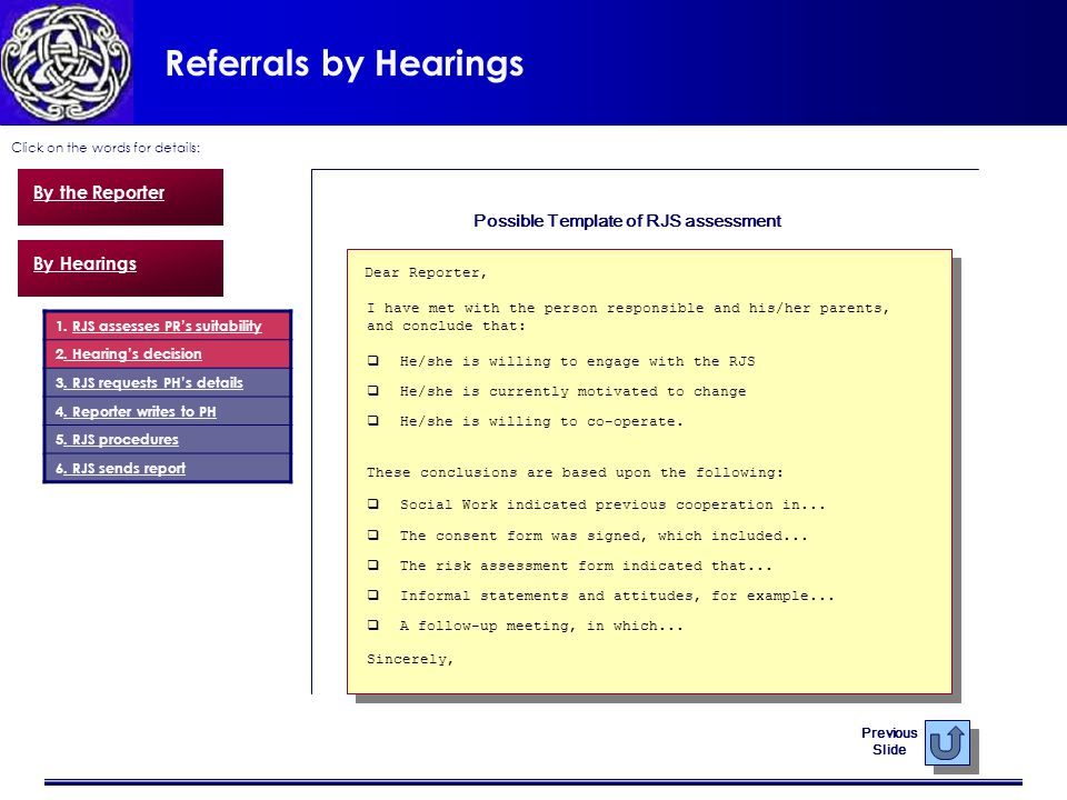 Referrals by Hearings Click on the words for details: By the Reporter By Hearings 1.