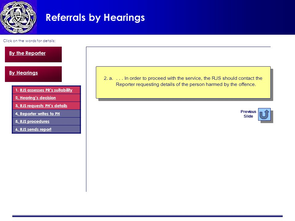 Referrals by Hearings Click on the words for details: 2.