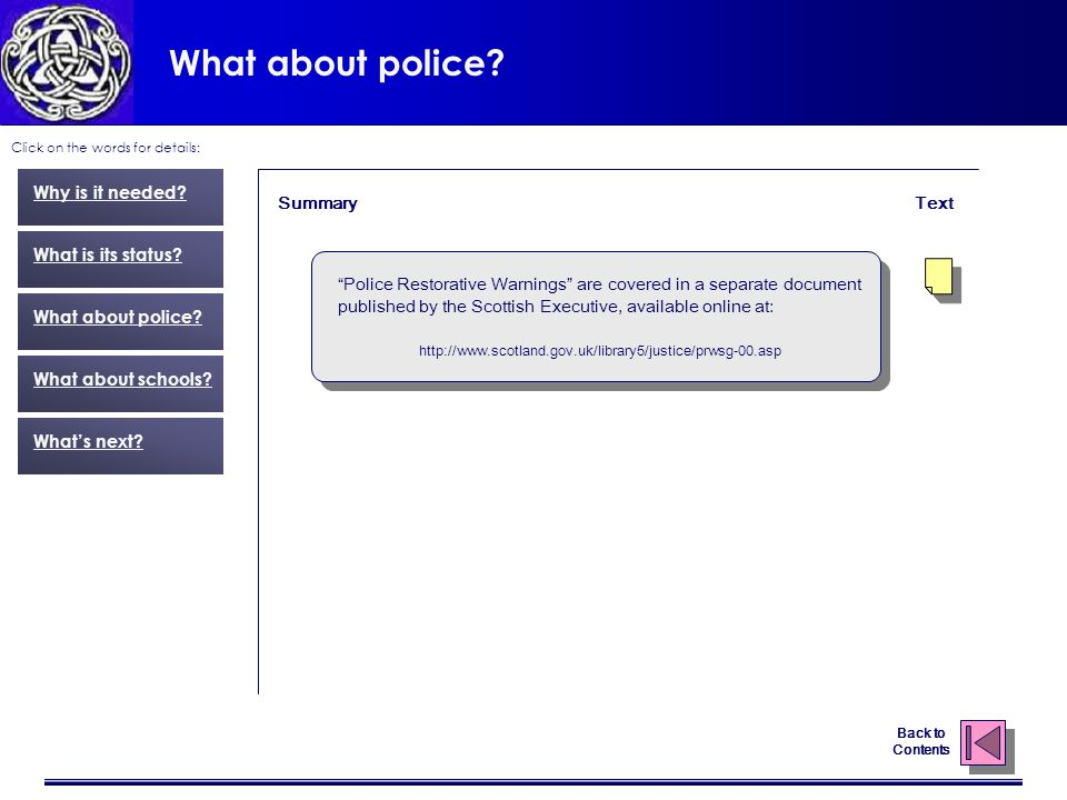 What about police. Click on the words for details: Text Why is it needed.