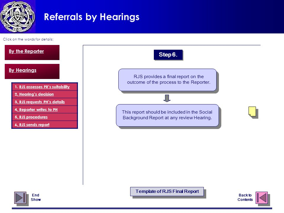 Referrals by Hearings Click on the words for details: Back to Contents By the Reporter By Hearings This report should be included in the Social Background Report at any review Hearing.