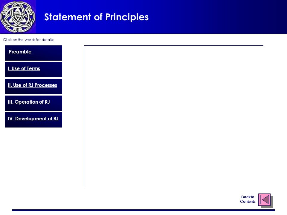 Statement of Principles Click on the words for details: Back to Contents Preamble I.