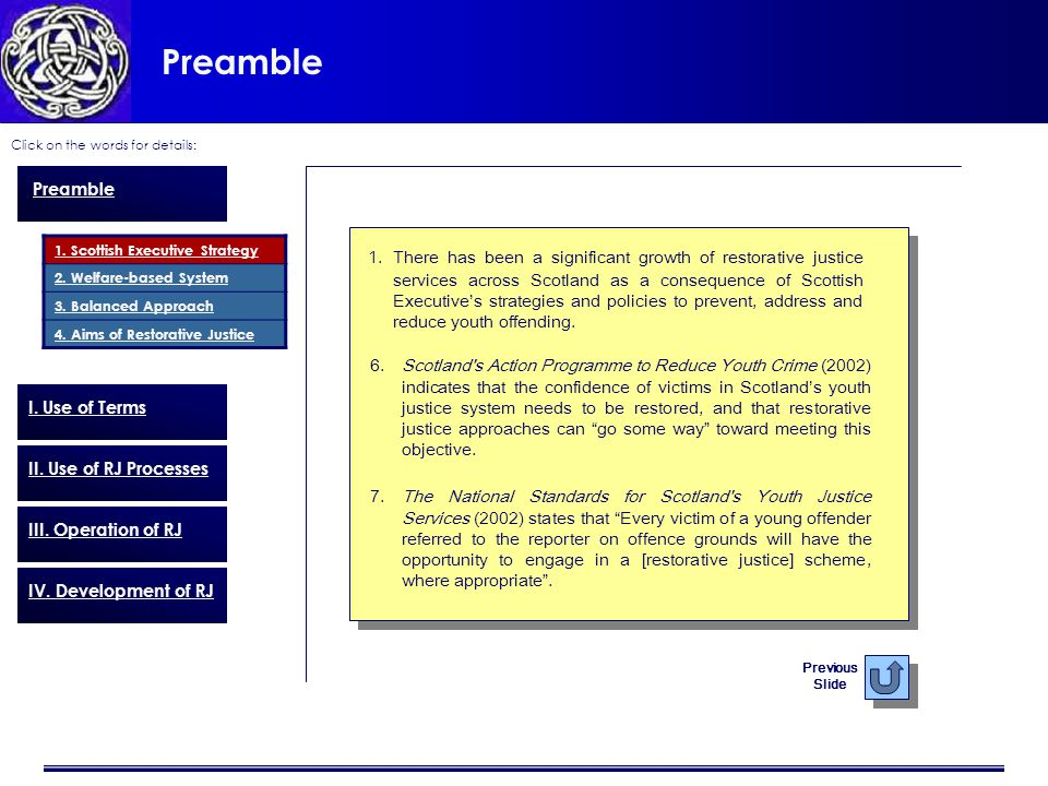 Preamble Click on the words for details: Previous Slide 6.