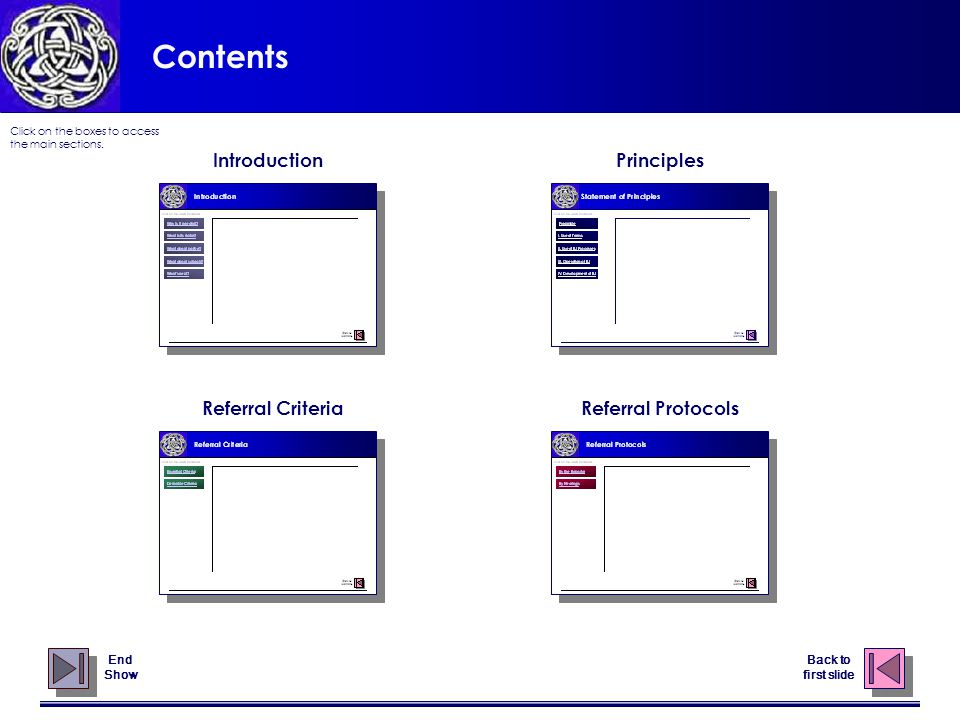 Contents Introduction Referral CriteriaReferral Protocols Principles End Show Click on the boxes to access the main sections.