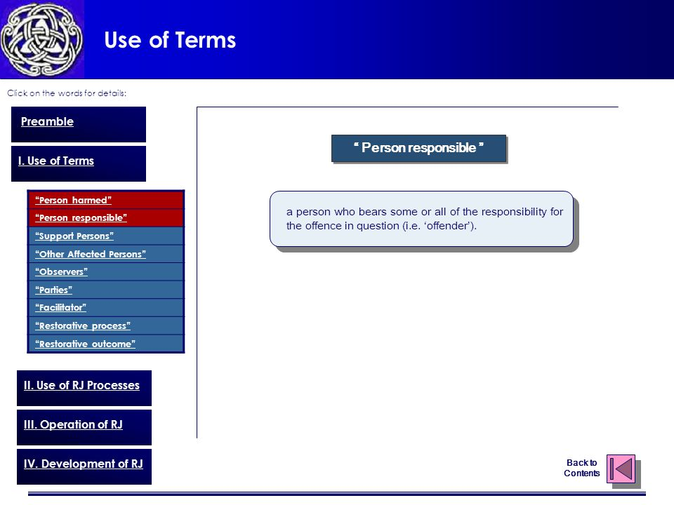 """Use of Terms Click on the words for details: Back to Contents Preamble I. Use of Terms """"Person harmed"""" """"Person responsible"""" """"Support Persons"""" """"Other A"""