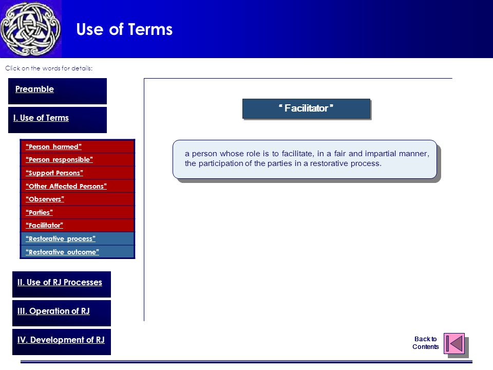 Use of Terms Click on the words for details: Back to Contents Preamble I.
