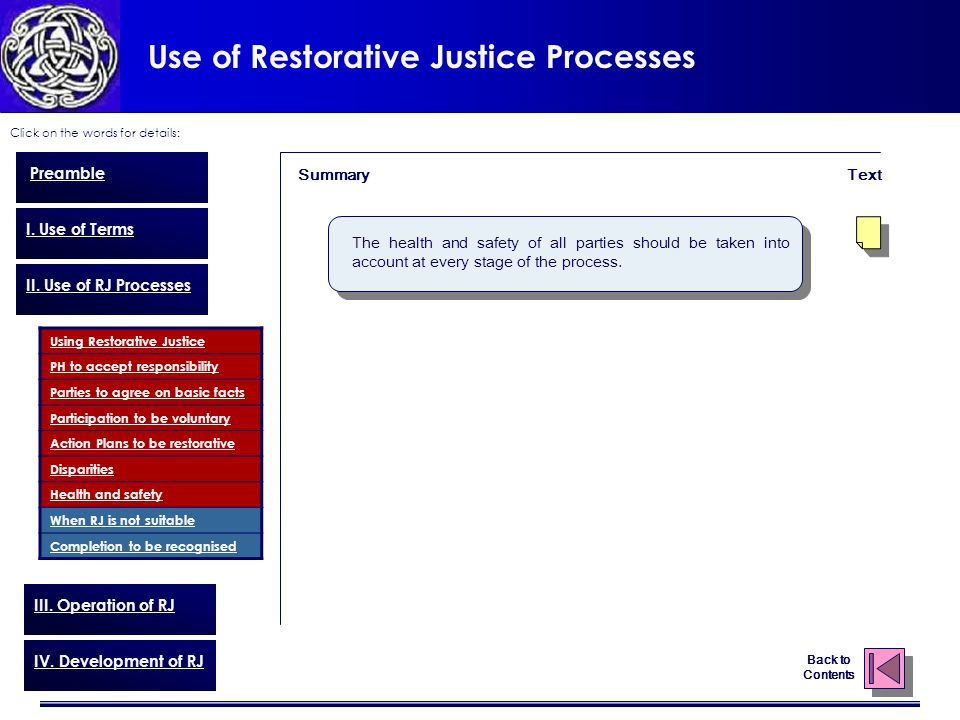 Use of Restorative Justice Processes Click on the words for details: Back to Contents Preamble I.