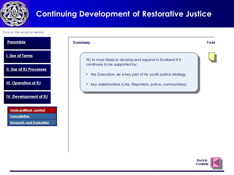Continuing Development of Restorative Justice Click on the words for details: Back to Contents Preamble I.