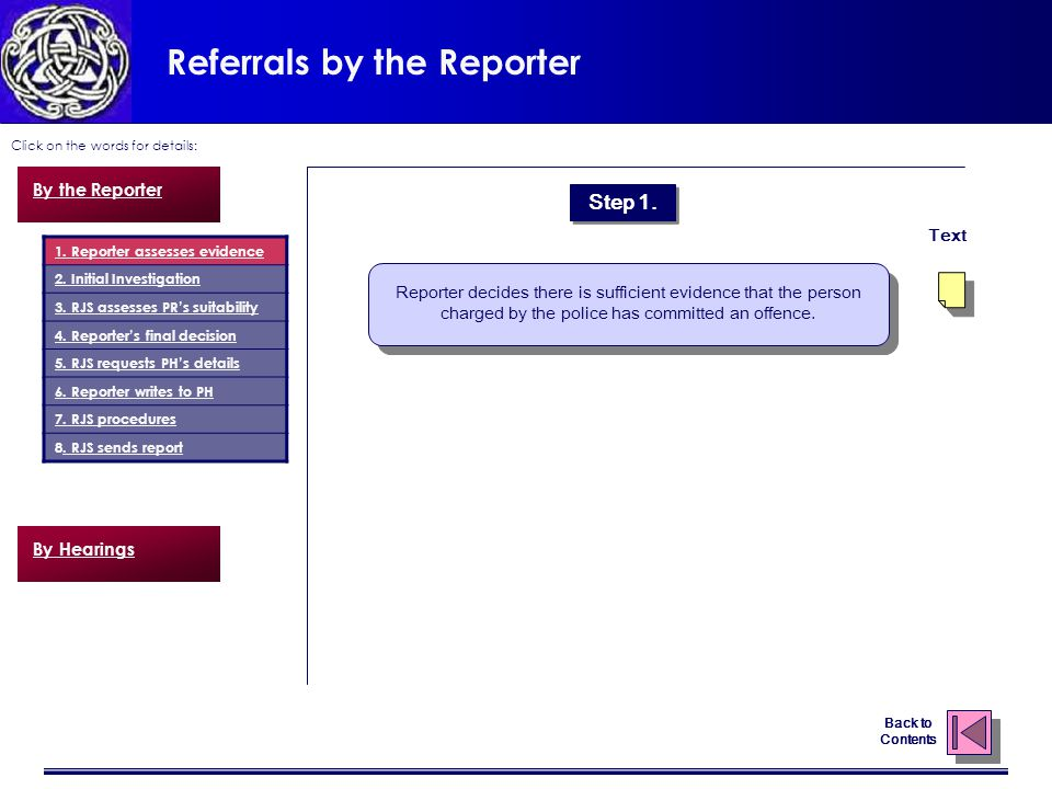 Referrals by the Reporter Click on the words for details: Back to Contents 1.