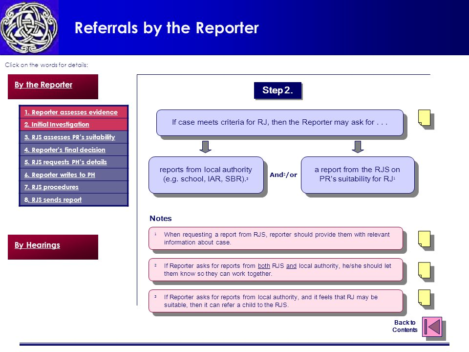 Referrals by the Reporter Click on the words for details: Back to Contents reports from local authority (e.g.