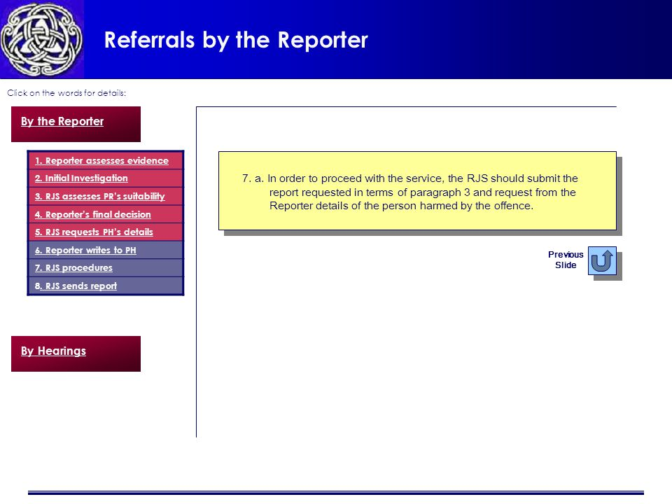 Referrals by the Reporter Click on the words for details: 7.