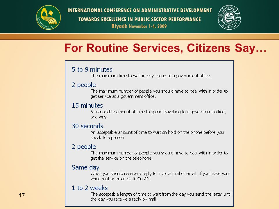 17 For Routine Services, Citizens Say…
