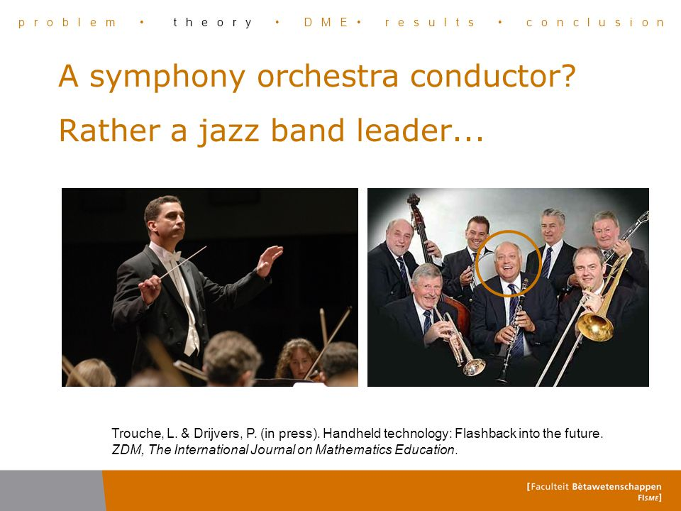 A symphony orchestra conductor? Rather a jazz band leader... Trouche, L. & Drijvers, P. (in press). Handheld technology: Flashback into the future. ZD